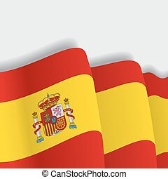 Spanish waving Flag. Vector illustration.