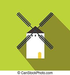 Spanish windmill icon, flat style