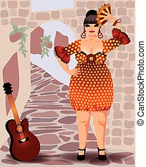 Spanish woman in flamenco dress