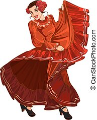 Spanish woman in red dress dancing