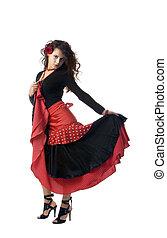 Spanish woman - Seductive spanish woman holding a red fan