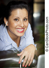 Spanish Woman Working At Home - Smiling Spanish Woman...