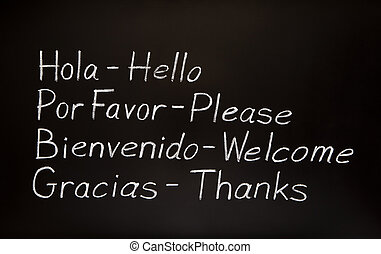 Blackboard with spanish words and their english translations.
