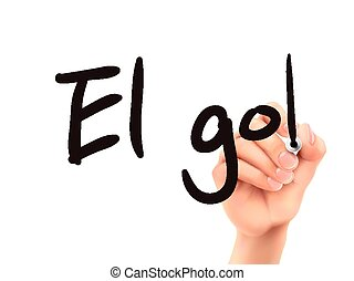 Spanish words for Goal written by 3d hand on a transparent board