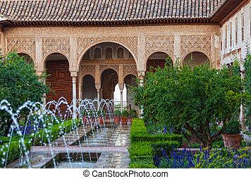spanje, generalife, deel, tuinen, alhambra