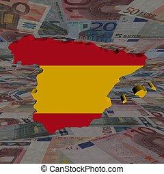 spanje, kaart, vlag, met, eurobiljetten