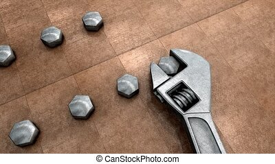 Mechanical tools, spanner and nut.