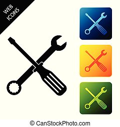 Spanner and screwdriver tools icon isolated. Service tool symbol. Set icons colorful square buttons. Vector Illustration