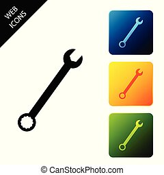 Spanner icon isolated on white background. Set icons colorful square buttons. Vector Illustration