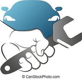 Spanner in hand for car repair