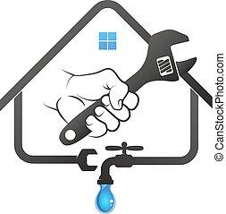 Spanner in hand to repair plumbing