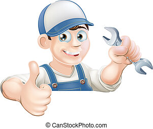 Spanner man over sign thumbs up - A plumber or mechanic ...