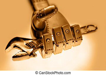 Spanner - Robot hand holding spanner