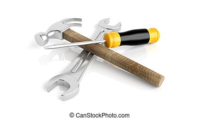Spanner,hammer and screwdriver, isolated on white background