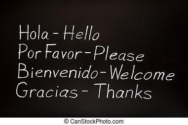 spansk, gloser, og, deres, engelsk, translations