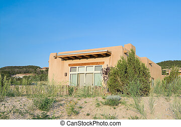spansk, hus, arkitektur, förorts-, färsk, nypremiär, pueblo, ensam släkt, jultomten, hus, fe, nymodig, mexico