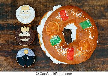 spansk, jul bakelse, med, tre, småkakor, av, den, tre visa herrar
