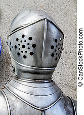 spansk, militær, panser, hjælm, og, breastplate, detalje