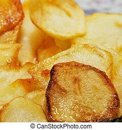 spansk, patatas, fritas, fransk steger