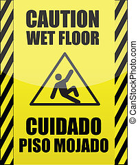 spansk, våt golvbeläggning, underteckna, engelsk