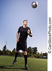 spanyol, futball, vagy, foci játékos, rovat, egy, labda