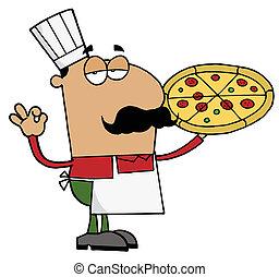 spanyol, pizza, séf, ember