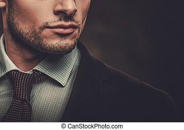 spanyol, sötét, háttér., feltevő, súlyos, well-dressed,...
