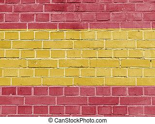 spanyolország, politika, concept:, spanish lobogó, fal