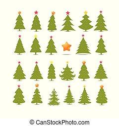 spar, anders, set, collection., bomen, achtergrond., witte kerst