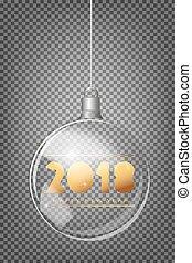 spar, bal, licht, abstract, boompje, kerstmis, realistisch, 2018, achtergrond, transparant, zilver