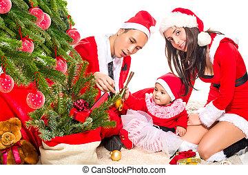 spar, gezin, zittende , boompje, eva, thuis, verfraaide, kerstmis, vrolijke