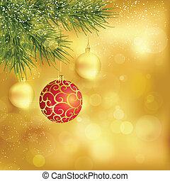 spar, gouden, baubles, takjes, achtergrond, kerstmis