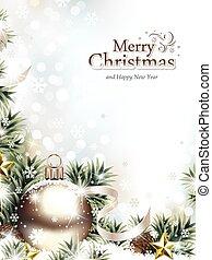 spar, ornament, takken, sneeuw, kerstmis