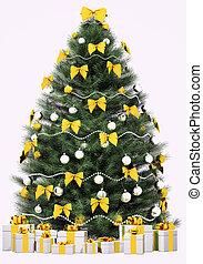spar, render, op, boompje, vrijstaand, witte kerst, 3d