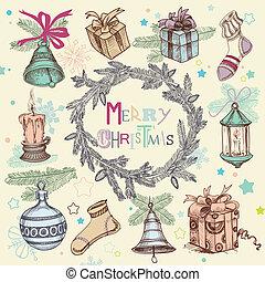 spar, set, illustratie, ouderwetse , frame, krans, boompje, kerstmis, vector, iconen, kerstmis, communie