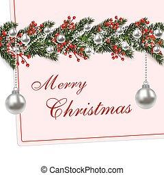 spar, takken, card., snowflakes., boompje, illustratie, jaar, groene, kerstmis., nieuw, schaduw, zilver, balls.