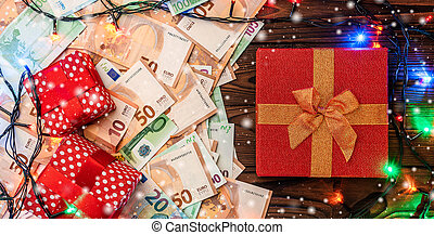 spar, takken, card., snowflakes., van hout top, effect, atmosphere., achtergrond, kadootjes, overzicht., kerstmis, kerstmis