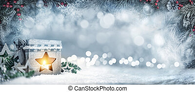spar, takken, lantaarntje, lichten, bokeh, achtergrond, kerstmis