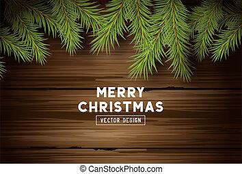 spar, takken, ouderwetse , hout, achtergrond, kerstmis