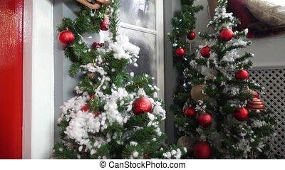 spar, venster, verfraaide, kerstmis, aanzicht