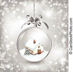 spar, weinig; niet zo(veel), bal, boom huis, kerstmis, glas, sneeuw, vector, bow., zilver