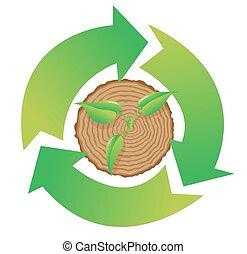 sparare, pianta, ceppo, albero, simbolo, vettore, verde, riciclare