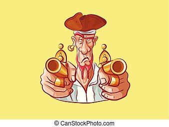 sparare, pistola, adesivo, emoji, capitano, mascotte
