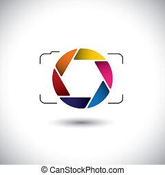 sparare, questo, grafico, colorito, videi, &, semplice, elegante, astratto, punto, vettore, o, lente, foto, otturatore, macchina fotografica, digitale, apertura, rappresentazione, icon., presa