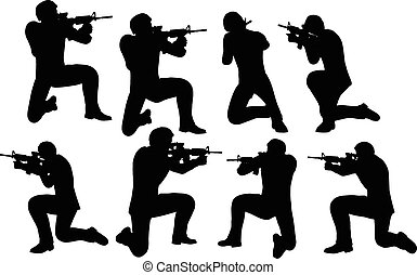 sparare, uomo affari, soldato