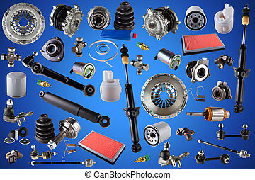 Spare parts car on the blue background