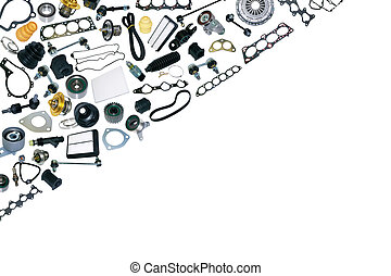 Spare parts car on the white background