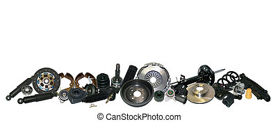 Spare parts car on the white background set