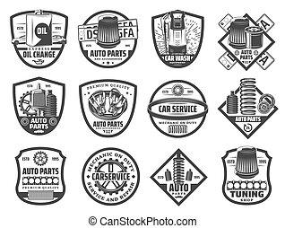 Spare parts, car repair service monochrome icons