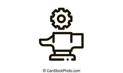 Spare Parts for Production Metallurgical animated black icon on white background